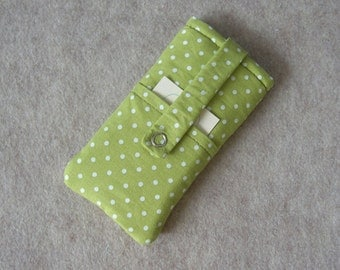 iPhone 5 Case, iPhone 4 Case, iPod Classic Case, Credit Card Holder, Clutch, Purse, Green Polka Dots