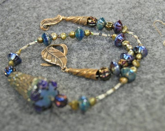 SALE Organic Pod Necklace w/ Blues and Greens & golds