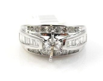 Diamond Ring Semi Mount in 14K White Gold Sale by Best in Gems (6060)
