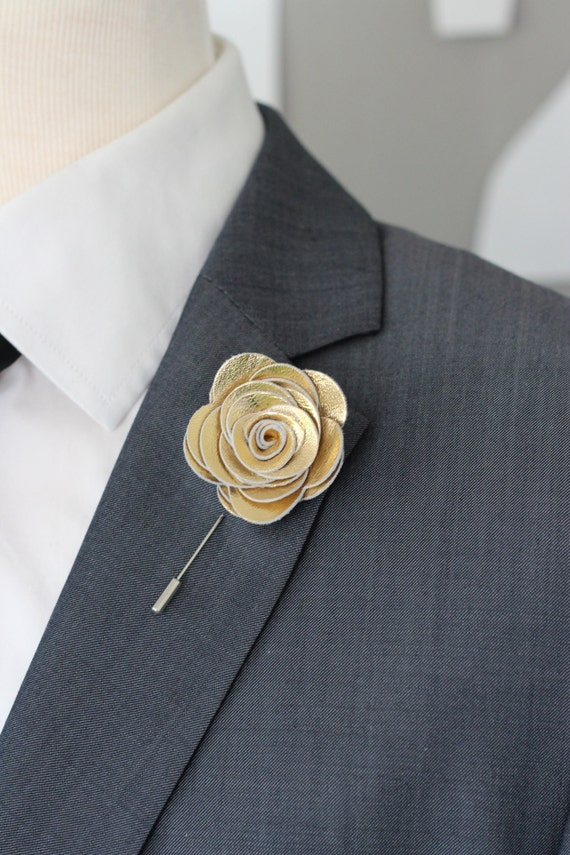 gold flower lapel pin gold wedding boutonniere gold lapel