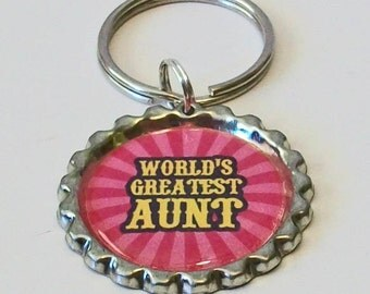 Bright Pink World's Greatest Aunt Metal Flattened Bottlecap Keychain Great Gift
