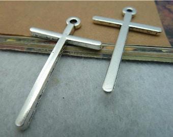 5pcs 30x48mm Antique Silver sideways cross charm connector
