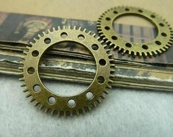 10 pcs 25mm  Antique bronze gears wheels  gearwheels Watch movements connectors links Charms Pendants