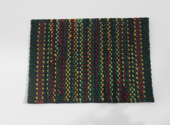 twined rug black red yellow green woven cotton mat kitchen