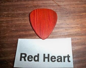 Red Heart Wood Guitar Pick