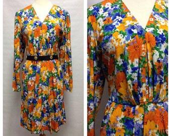 Vtg 80s Citrus Floral Disco Dress/ small