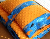 Nap Mat Cover - Sharks - Blue - Black - Orange - Choose Your Colors - Kindermat - Back To School - Pillowcase - Blanket - Minky