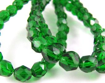 Green Emerald 6mm Facet Round Czech Glass Fire Polished Beads 25pc  #128