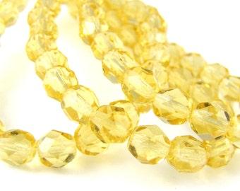 Light Topaz 6mm Facet Round Czech Glass Fire Polished Beads  #111