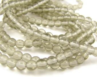 Black Diamond 4mm  Round Czech Glass  Beads 100pc #1850