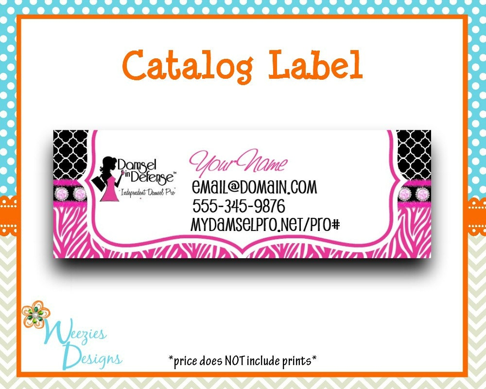 Damsel in defense catalog label direct sales by weeziesdesigns for Damsel in defense business cards