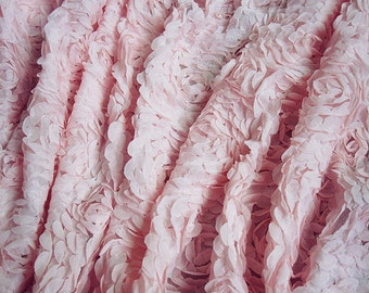 Pink Rose Floral Lace Fabric Shabby Chiffon Bridal Apparel By Yard