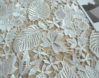 White Bridal Fabric, Rose with Leaf Lace Fabric, Wedding Dress Fabric, Embroidered Lace Fabric