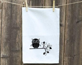 Flour Sack Towel-Tea-Dish-Hand-Kitchen-Cute Owl