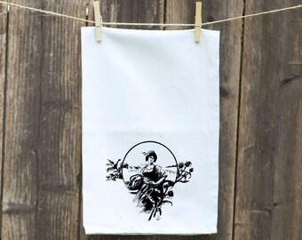Kitchen Towels- Flour Sack Towel-Tea-Dish-Linen-Hand-Kitchen-Vintage Woman in Garden