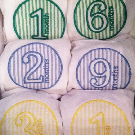 Baby Month Applique Designs For Baby Onesies Mark The
