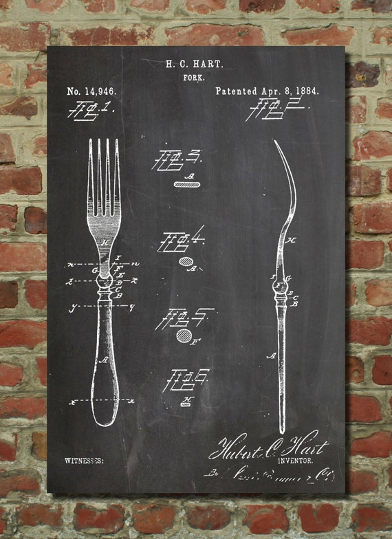 Fork patent poster restaurant decor dining room by for Dining room posters