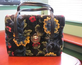 Vintage 1960s Colorful Cut Velvet Carpet Bag with Sculpted Flowers