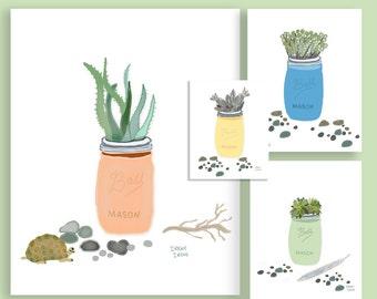 4 Succulent Mason Jar Art Print Set Matted and Signed, Succulent Art, Blue, Yellow, Green, Peach, House Warming Gift, Wall Art
