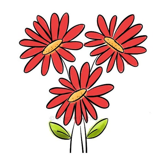 Daisy Bouquet Original Art - Digital Download - red gerbera daisy clipRed Daisy Clipart