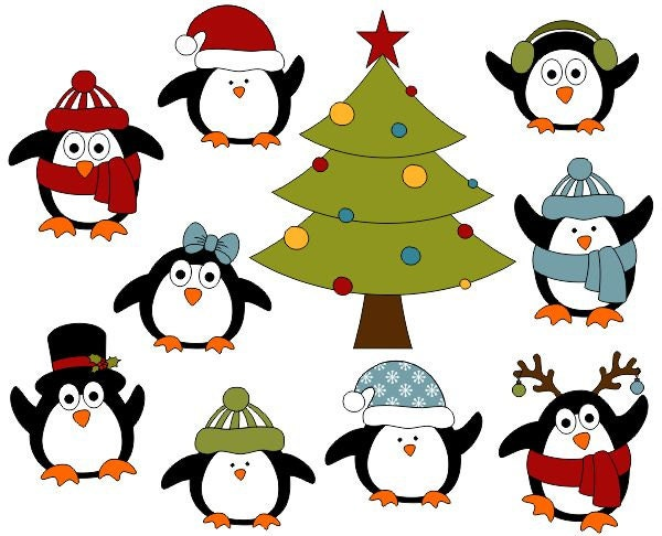 christmas penguins digital clip art christmas tree clipart. Black Bedroom Furniture Sets. Home Design Ideas