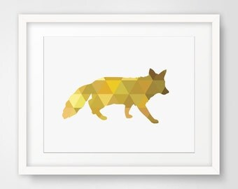 Yellow Fox, Geometric Fox Print, Mustard Yellow Fox Print, Geometric Mustard Yellow, Animal Print, Geometric Home Decor, Wall Art