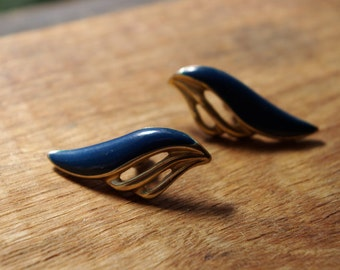 Art Deco Goldtone and navy blue paste wing design earrings