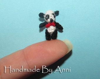 Miniature panda bear - Dollhouse micro panda small panda handmade miniature artist bear miniature amigurumi dollhouse panda stuffed animal