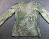 Powered By Creativity Green Bohemian Koi fish print Wrap Around T Shirt L