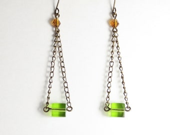 Peridot Green Glass Cube Dangle Earrings