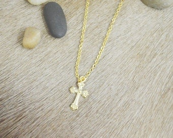 A-186 Simple cross necklace, Gold filled, Gold plated