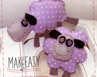 Sheeps - Felt pattern and Tutorial - DIY - Making pattern PDF - Plushie animal Instructions