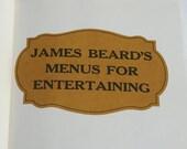 Menus for Entertaining, Vintage James Beard Cookbook, 1965 Edition