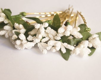 Bridal Hair Accessories, white lily, white  flora Hair Bobby Pin, Brass Bobby pin- set 12