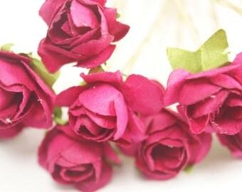 Bridal Hair Accessories, Pink  Rose, Fuchsia  flower Hair Bobby Pin, Brass Bobby pin- set 6