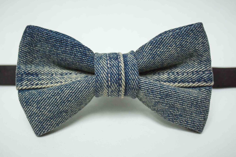 stressed denim bow tie