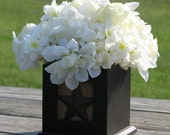Rustic Centerpiece Black Distressed Box with Rusty Star Ivory Colored Silk Flowers Rustic Home Decor Black and White Flower Arrangement