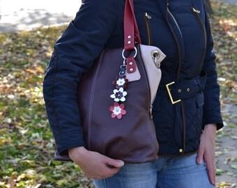 LARGE LEATHER Handbag ,Leather Tote Bag, Soft Pebbled Leather Bag,Leather Shopper Bag, Leather Shoulder Bag,Burgundy Leather Tote