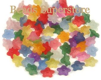 SALE 10 mm x 5 mm Lucite Flower Bead MIX - 60 pcs