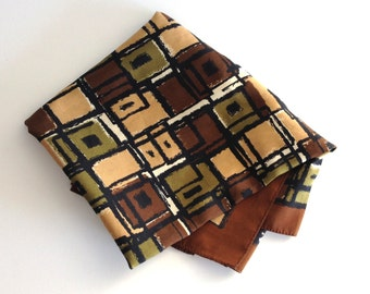 Vintage Brown Beige Black Green Square Silk Scarf