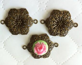 6 pcs Flower charms Pendant, antique bronze Links, Cabochon setting, 41 mm x 37 mm, Tibetan Connector, Links,base setting. nickel free