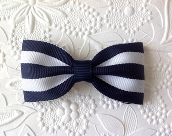 Navy Hair bow, 3 inch stripe navy hair bow, tuxedo navy blue bow on alligator clip, nautical, girls bow, toddler, photo prop. baby clip