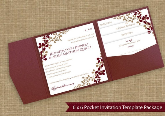 Design Your Own Wedding Invitations Template: 6x6 Pocket Wedding Invitation Template Set By KarmaKWeddings
