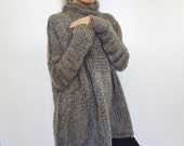 Oversize Chunky knit sweater.Slouchy/Bulky/ Loose sweater. Marble gray. Winter 2014.