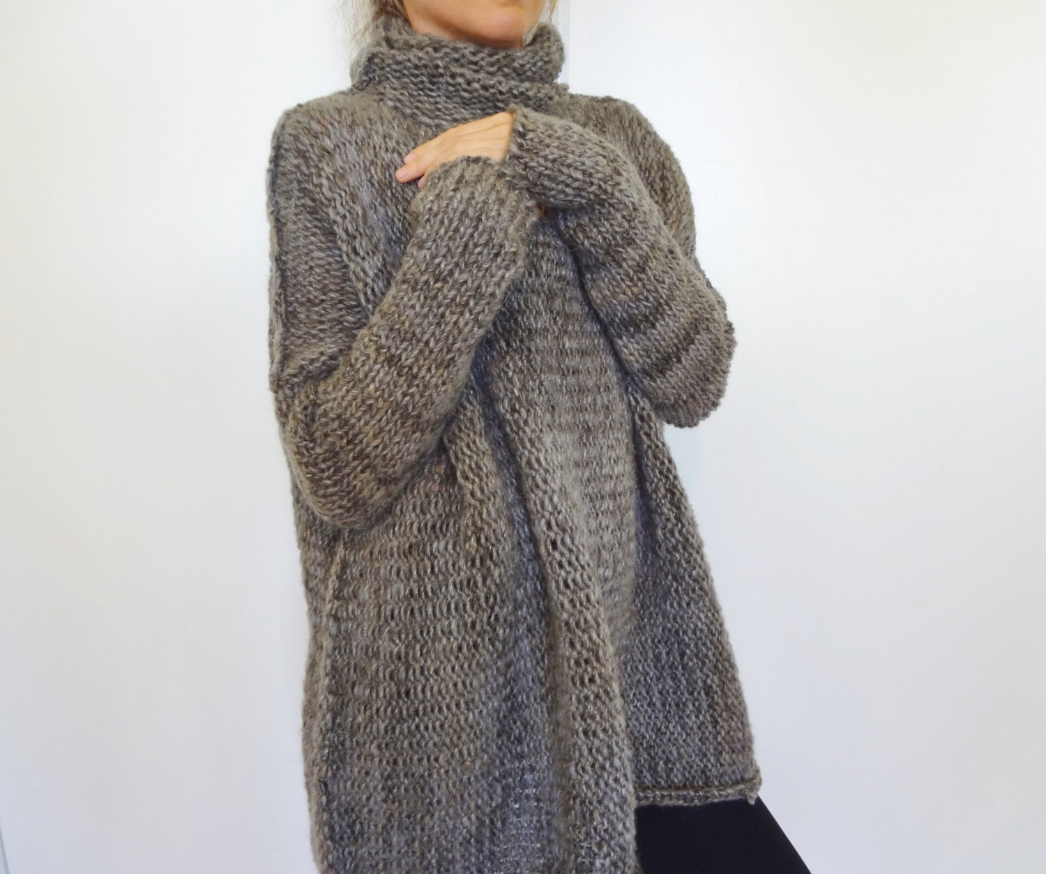 Knitting Patterns For Chunky Sweaters : Oversized Chunky knit sweater.Slouchy/Bulky/ Loose sweater.