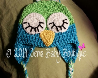 Adorable Sleepy Owl Crochet  Hat,  Newborn to 10 Years, Photo Prop Beanie, Made to Order