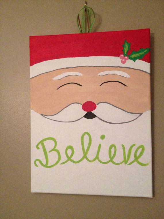 Believe santa christmas canvas Christmas card scenes to paint