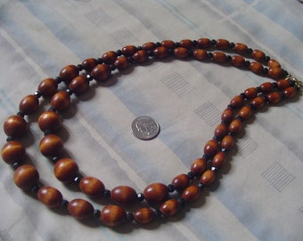 """Reduced from 25 Dollers   Graduated Vintage Wood + China Beads -2 Strand Necklace Bottom Strand Length 26""""    Jewelry J03 -"""