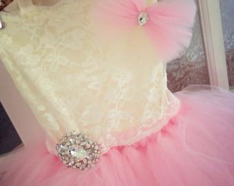 "The ""Julia Rielle "" dress-sweet pink dress lace brooch flower girl dress-ballerina birthday dress-headband not included"