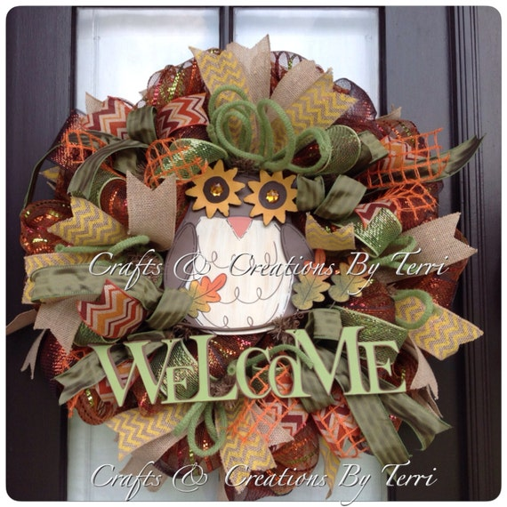 Welcome Guests With Fall Door Decorations: FALL Wreath Welcome Wreath Welcome Owl By CreatedByTerri